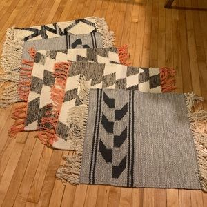 Variety of woven wool/cotton placemats (5 items)